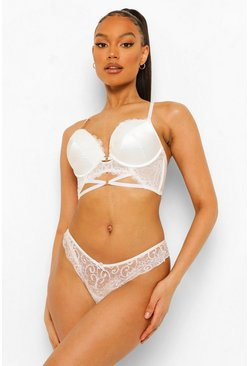Satin And Lace Super Push Up Bra and Thong Set