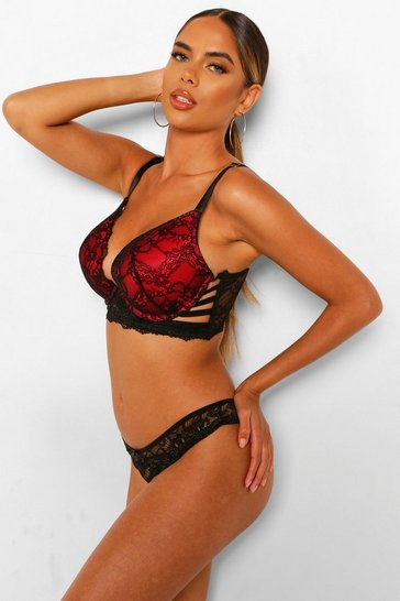 Black Fuller Bust Strapping Wing Plunge Bra