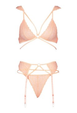 Blush Multi Strap Lace Bralette Thong and Suspender Set