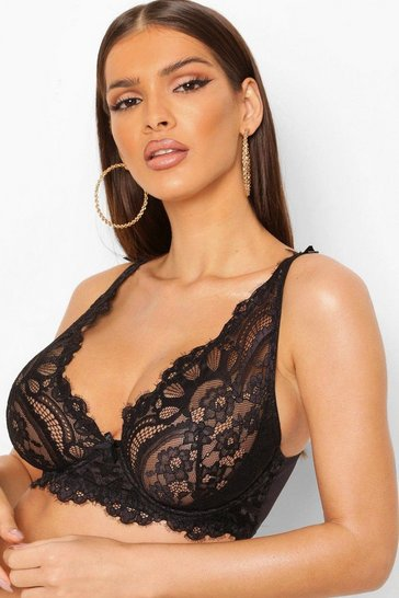 Black DD+ Eyelash Lace Underwire Bra
