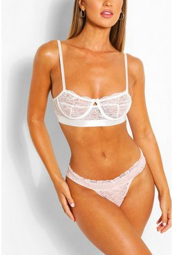 String bandeau en dentelle, Couleur chair nude