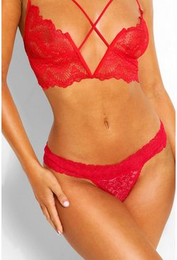 Red Lace Bandeau Thong