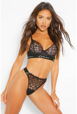 Woman Tape Lace Tanga Bra & Thong Set