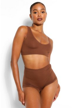 Chestnut brown Ribbed Seamless Wide Apex Bralet