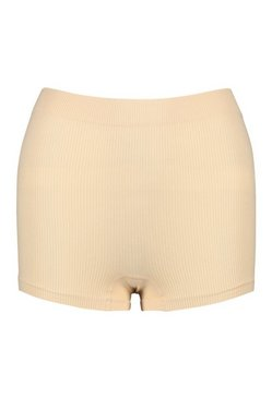 Nude Ribbed Seamless Boxers
