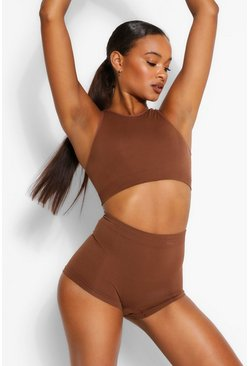 Chestnut brown Ribbed Seamless High Neck Crop Bralette