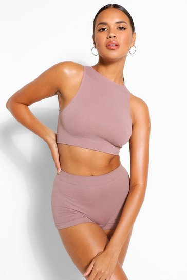 Mocha beige Ribbed Seamless High Neck Crop Bralette