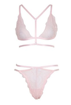 Blush Strapping Lace Bralette and Thong Set