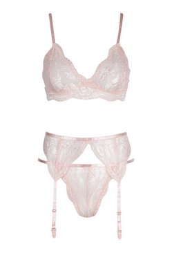 Blush Scallop Lace Bralette Thong and Suspender Set