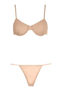 Nude Sheer Mesh Underwire Bra & String Set