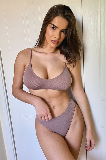 Mocha beige Ribbed Seamless Thong