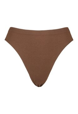 Chestnut Ribbed Seamless Thong