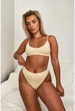 Nude Ribbed Seamless Thong