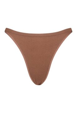 Chestnut Ribbed Seamless Dip Front Thong