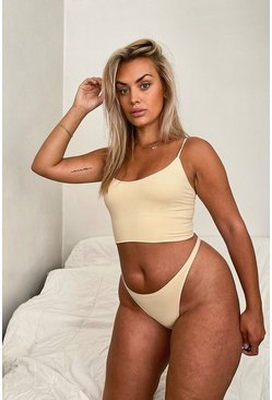 Nude Ribbed Seamless Dip Front Thong