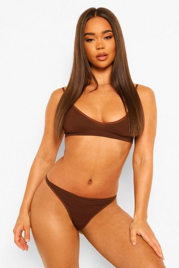 Chocolate brown Ribbed Seamless Dip Front Thong
