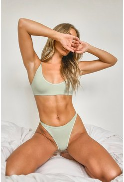 Ribbed Seamless Triangle Bralette and Thong Set