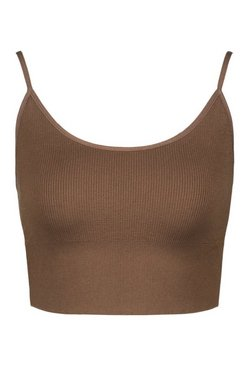 Chestnut Ribbed Seamless Longline Lounge Bra