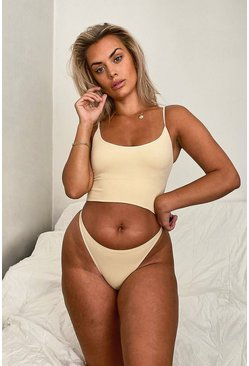 Ribbed Seamless Longline Lounge Bra and Thong Set