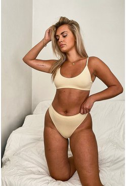Nude Ribbed Seamless Triangle Bralet