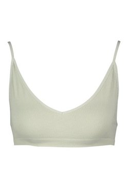Khaki Ribbed Seamless Triangle Bralette
