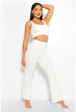 Cream Chenille Knitted Trouser + Vest Lounge Set