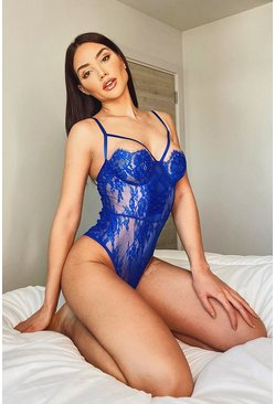 Cobalt blue Lace Up Front Detail Eyelash Lace Bodysuit