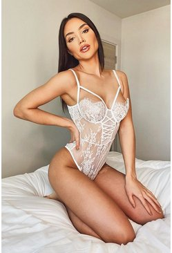 White Lace Up Front Detail Eyelash Lace Bodysuit