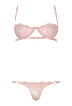 Baby pink Strapping Underwire & Thong Set