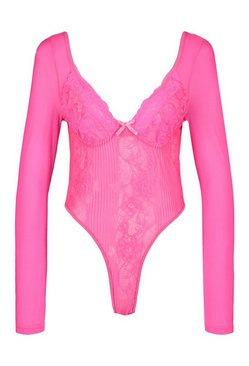 Hot pink Long Sleeve Lace Bodysuit