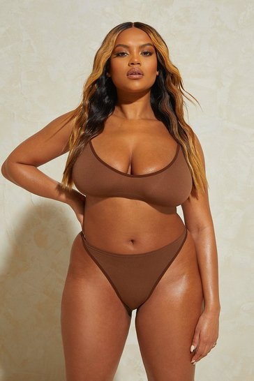 Chestnut brown Seamless Dip Front Thong