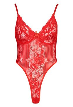Red Underwired Stripe Lace Body