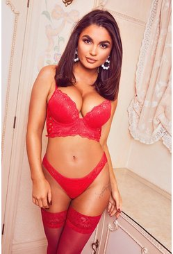 Red Lace Up Longline Super Push Up Bra