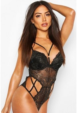 Body in pizzo super push up glitterato, Nero