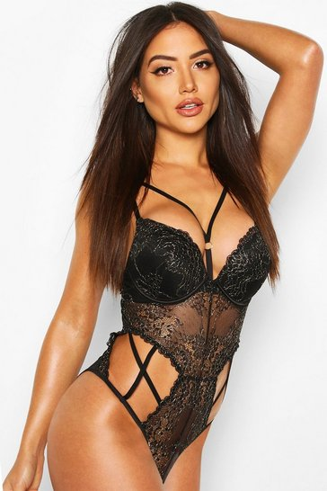 Black Glitter Lace Super Push Up Body