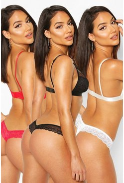 3 Pack Lace Bandeau Thongs, Black Чёрный