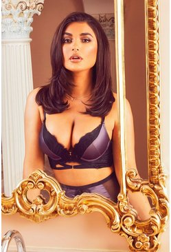 Slate grey Premium Satin Super Push Up Bra