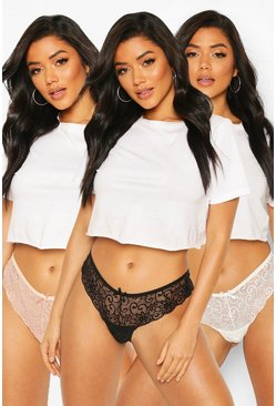 Black 3 Pack Lace Brazilian