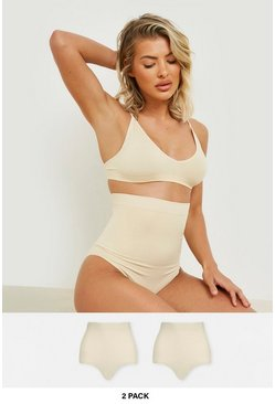 Lot de 2 slips gainant taille haute, Couleur chair nude