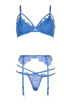 Cobalt Lace Strapping Bralette Thong and Suspender Set