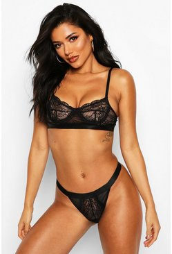 Black Spot Mesh and Lace Bralette and Thong Set