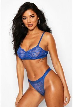 Blue Spot Mesh and Lace Bralette and Thong Set