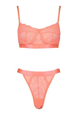 Coral Spot Mesh and Lace Bralette and Thong Set