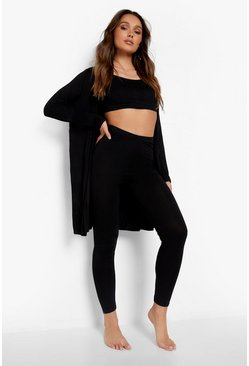 Black 3 Piece Legging and Robe Lounge Set