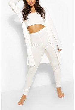 Cream white 3 Piece Legging and Robe Lounge Set