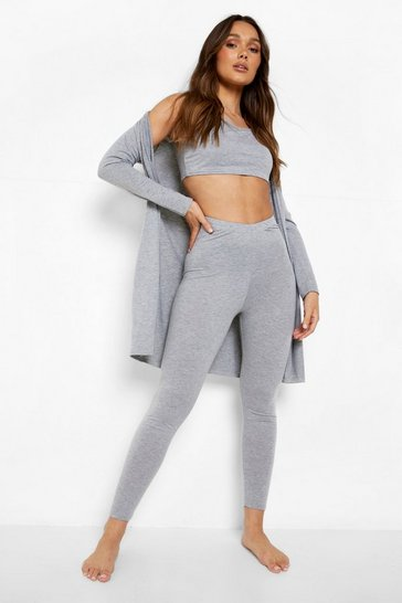 Grey marl grey 3 Piece Legging and Robe Lounge Set