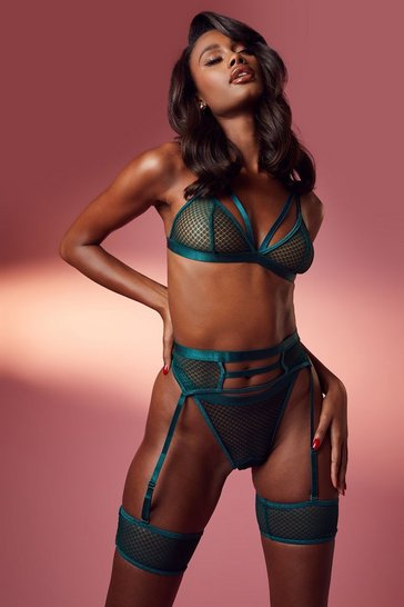 Emerald green Mesh Strapping Bralette Thong and Suspender Set