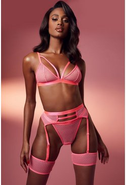 Hot pink Mesh Strapping Bralette Thong and Suspender Set
