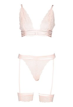 Blush Lace Strapping Bralette and Suspender Thong Set