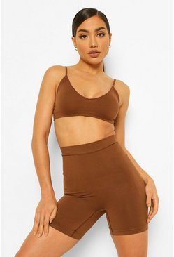 Short sculptant taille haute, Chestnut marron